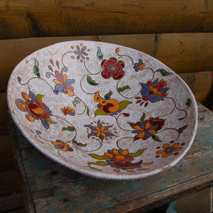 Купить Блюдо глубокое керамическое - комбинированный, керамика ручной работы, блюдо, салатник, ручная роспись
