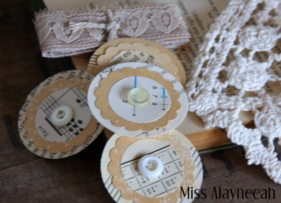 4 Vintage Paper Punched Embellishment with Lace  by missalayneeah #scrapbooking #embellishments #papercrafting #artjournal #handmade