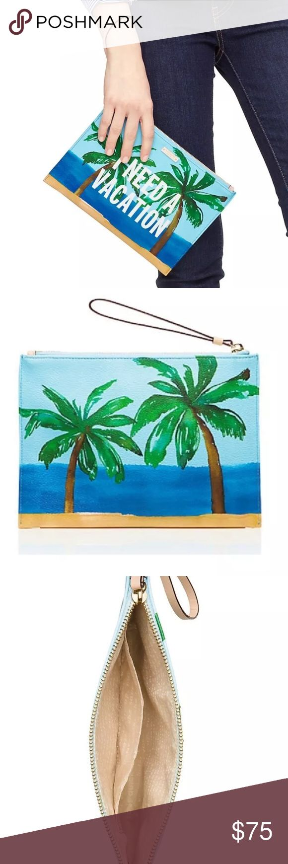 "Kate Spade ""I Need A Vacation"" pouch Kate Spade I NEED A VACATION Pouch Clutch Wristlet Breath of Fresh Air MSRP $128 Grainy vinyl w/matching trim 14k gold-plated hardware Pouch with zip top closure, and wristlet strap Quick and curious lining Interior slide pocket Measures 7""(H) x 10""(L) NWT. Never used. kate spade Bags Clutches & Wristlets"