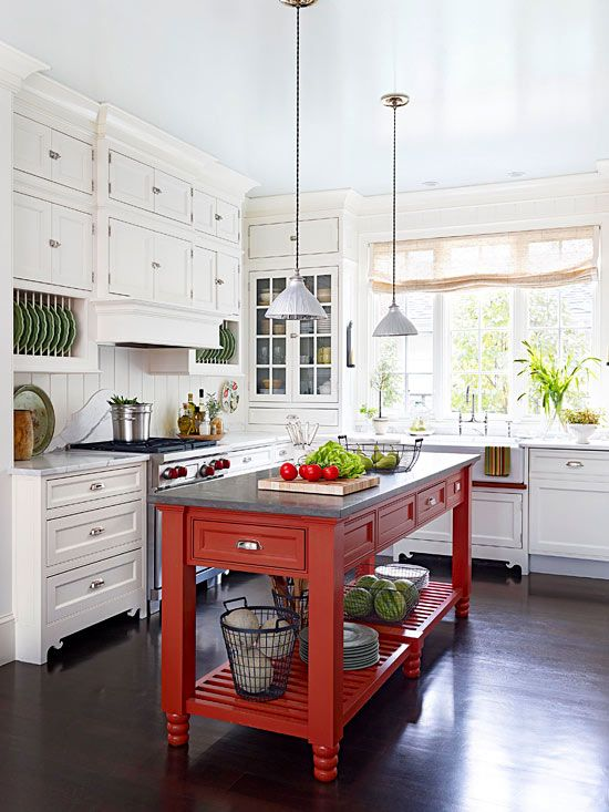 Carrara White Marble kitchen countertops; Soapstone slab kitchen island, white cabinets red