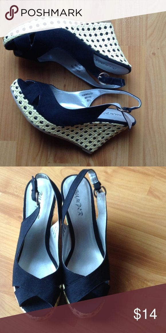 Brand New Wedge Shoes Brand New; Black Slingback Wedge with Wooden Weave Sole and Wedge Shoes Wedges