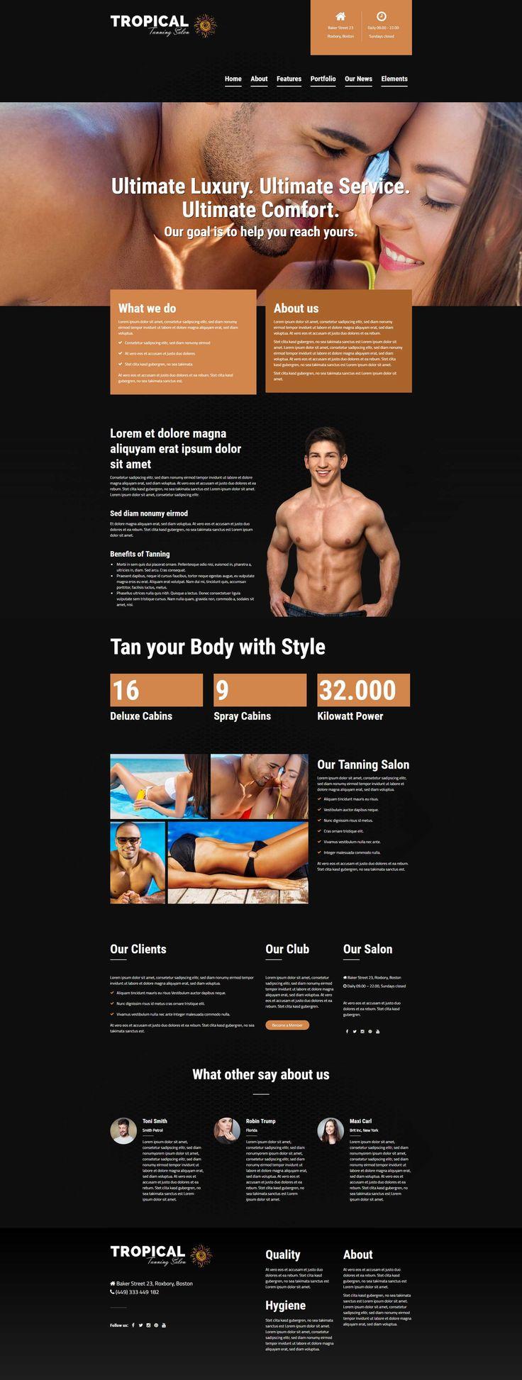 Tropical - a dark designed tanning salon WordPress Theme