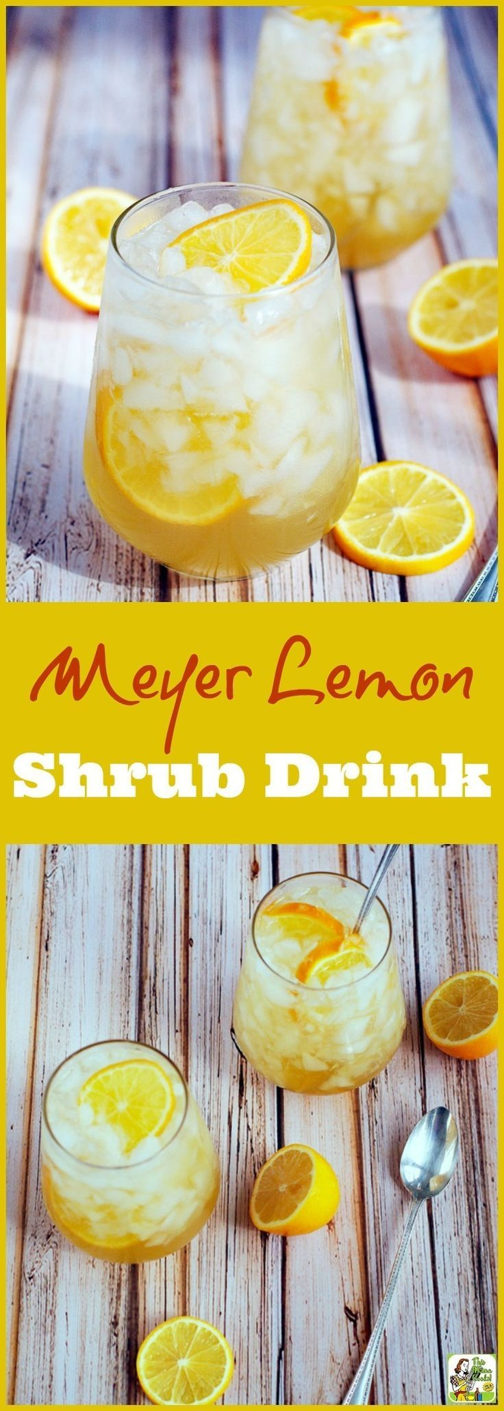 Got lemons? Make this Meyer lemon shrub drink recipe! Click to get this sugar free cocktail and mocktail drink mixer recipe. It's easy to make, perfect for low calorie, skinny cocktails, too!