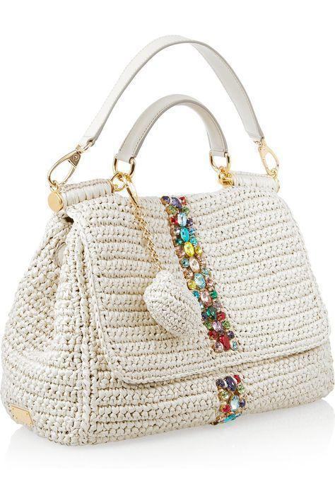 Dolce   Gabbana Ráfia e Bolsa de Couro -   Dolce   Gabbana Raffia and  Leather 3c18c306949d2