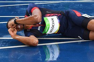 France's Wilhem Belocian reacts after a false start in the Men's 110m Hurdles heats ended his participation in the race