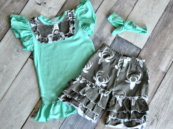 Deer Short Set: the perfect outfit for little ladies who love the great outdoors!  Just $13.50 with a FB share for one week only!