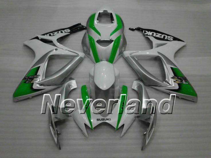 SUZUKI GSX-R 600/750 2006-2007 K6 ABS Fairing - Silver/Green  #2007gsxr750fairings #07gsxr750fairings #07gsxr600fairings