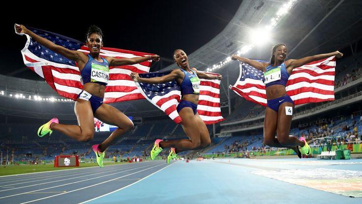 Brianna Rollins, Nia Ali and Kristi Castlin filled the podium with red, white…