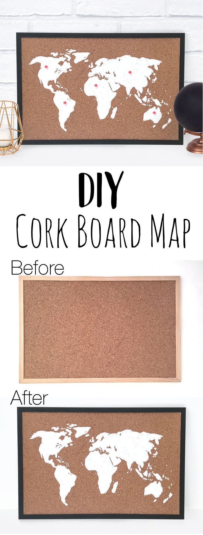 This DIY cork board map is a great home decor craft to make. It's a perfect handmade gift for travellers and adventure lovers. You can also use it as a stylish bulletin board. This DIY map craft is easy to make and looks great in the home!