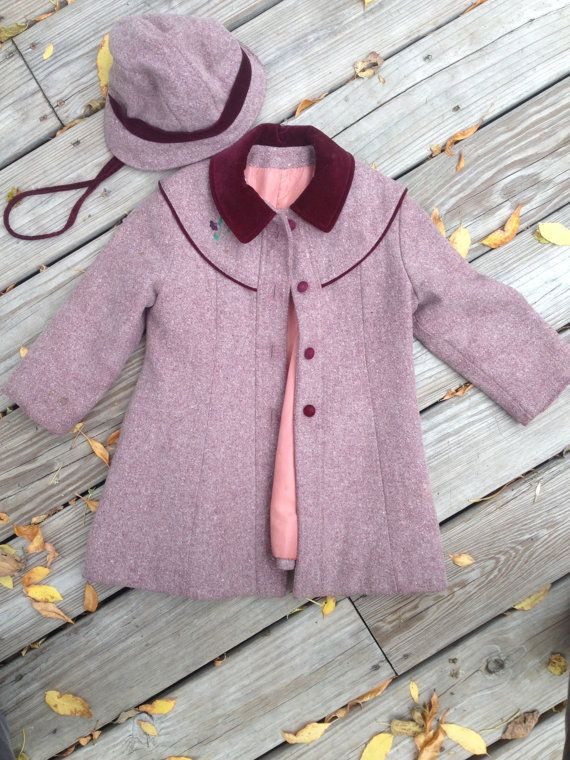 Vintage Little Girl Peacoat with Matching Hat / Vintage Rothschild Coat / Vintage Childrens Coat