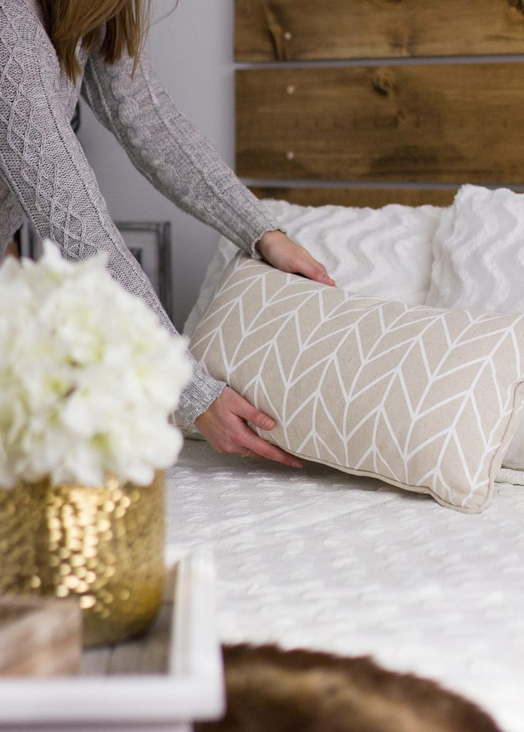 Urban Barn White Stitched Coverlet and Chevron Pillow
