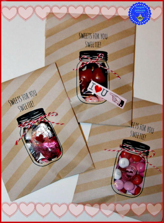 mason jar valentine treat bags from hooplapalopooza