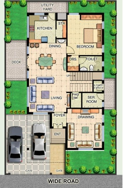 Image Result For Interior Plan For 3 Bhk Row House Plan House