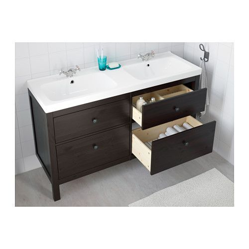 HEMNES / ODENSVIK Sink cabinet with 4 drawers, black-brown stain black-brown stain 55 1/8x19 1/4x35