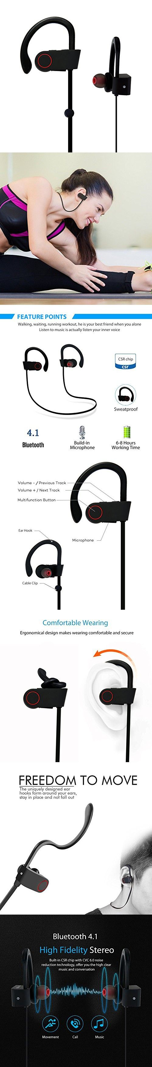 Bluetooth Earbuds, OXoqo in Ear Sport Headphones Best with Mic Wireless Earphones IPX4 Sweatproof Fitness Stereo Ear Phones Gym Running Exercise Workout Headset for iPad iPhone Android Phone(Black)