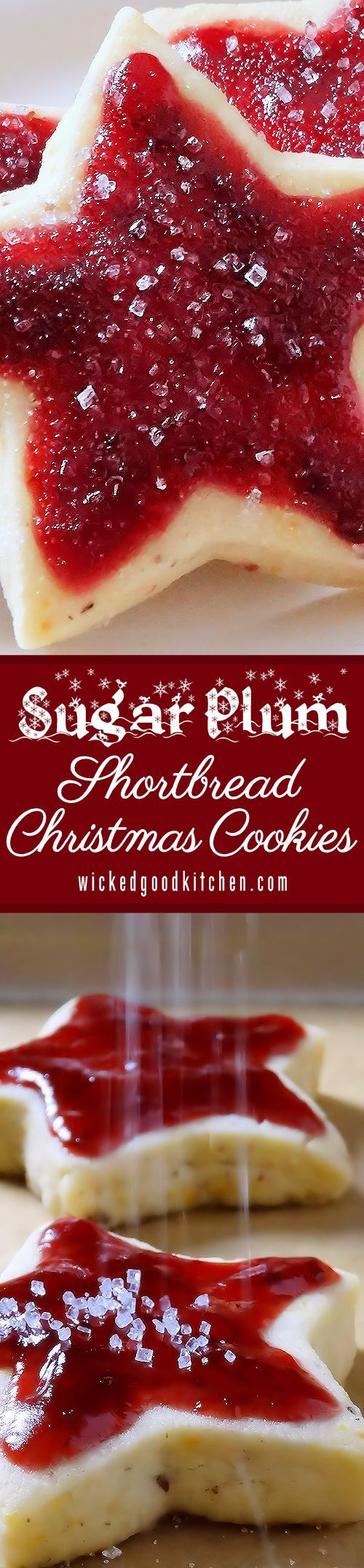 Sugar Plum Shortbread Christmas Cookies ~ Scrumptious old-fashioned buttery shortbread kissed with sunny orange zest, pecans and a whisper of spices topped with Sugar Plum Jam. They are like a jam-topped English scone turned into a shortbread cookie! Everyone will LOVE them! Includes gluten free option. | sugarplum cookie recipe