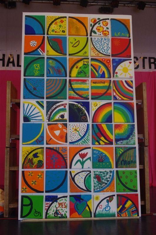 Ieder krijgt een kwart van een cirkel en kleurt deze in. Nadien worden de verschillende stukjes één werk.
