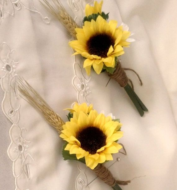 Sunflower boutonniere Bridal party accessories groom, groomsmen buttonholes silk Sunflower Wedding Flowers, artificial summer bridal ideas via Etsy