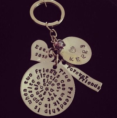 This keyring is hand stamped and can be personalised with names and dates of your choice. It's a lovely and unique present for that awesome friend in your life.