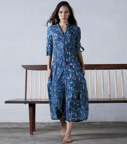 Indigo floral dress