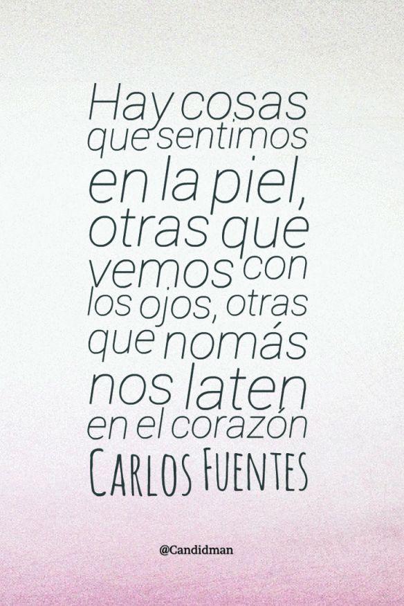 20151111 Hay cosas que sentimos en la piel, otras que vemos con los ojos, otras que nomás nos laten en el corazón - Carlos Fuentes @Candidman