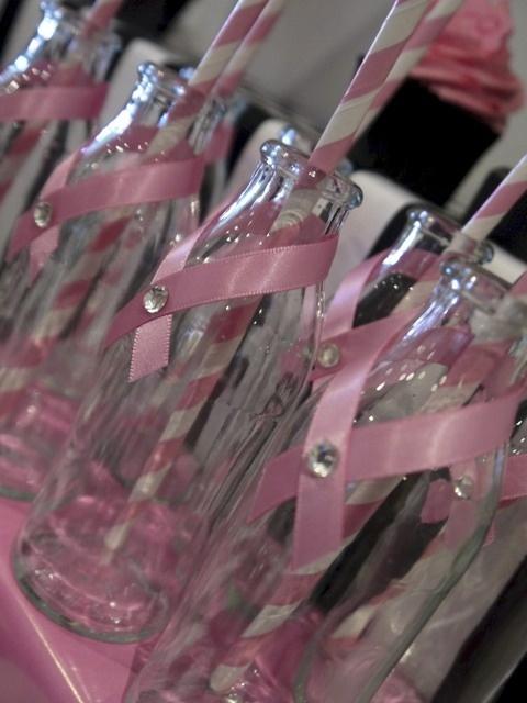 Pink and White Breast Cancer Milk Bottles #pink #milkbottles