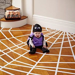 Spider web floorHoliday, Halloween Parties, Halloween Decor, Spider Webs, Wood Floors, Halloweendecor, Masks Tape, Halloween Ideas, Spiders Web