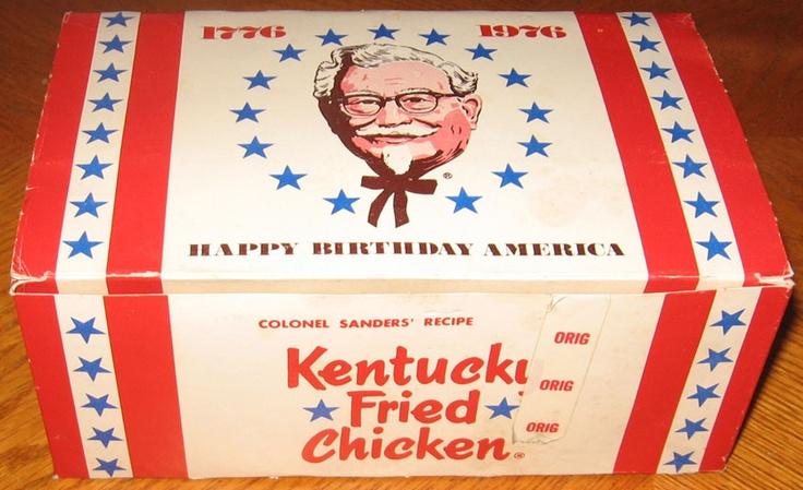 Vintage KENTUCKY FRIED CHICKEN BOX Bicentennial 1976 KFC fast-food restaurant