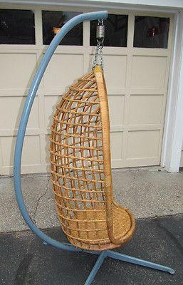 Vtg Mid Century Modern 60 S Rattan Wicker Basket Pod Egg