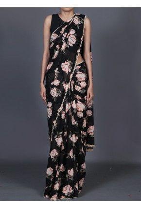 Lashkaraa Black Floral Printed Georgette Saree