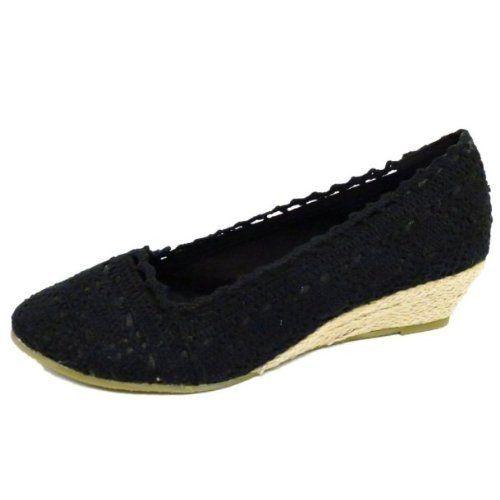 Damen Schuhe Häkel Sommer Leinen Keil Absatz Pumps Größen 36 - 41 - negro - negro, 41 - http://on-line-kaufen.de/generic/37-eu-damen-schwarz-haekel-sommer-zum-hessisch-3-8