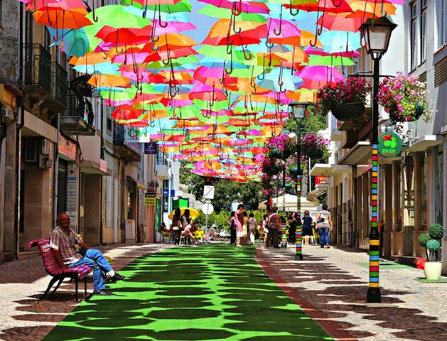 umbrella installation.Covers Walkways, Favorite Places, Umbrellas Installations, Art Installations, Umbrellas Art, Portugal, Floating Umbrellas, Canopies, Colors Umbrellas