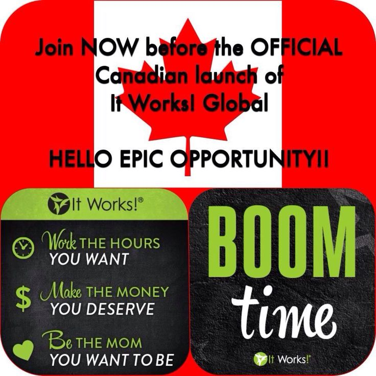 Here we go! It Works! Is launching Canada!!!! Get in on the ground floor the Canadian market is going  to BOOM!!! Don't sit on the fence any longer about getting started in this business!!! Message me today and take advantage of this HUGE opportunity!!!!    Call/text 204-299-9824 or email csreid123@hotmail.com  #Canada#BC#Alberta#Saskatchewan#Manitoba#ontario#quebec#newbrunswich#PEI#novascotia#capebreton#newfoundland#yukon#Northwestterritories#Nunavut