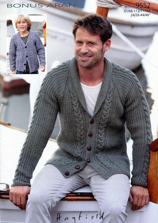 Cardigans in Hayfield Bonus Aran (9552) | Mens Knitting Patterns | Knitting Patterns | Deramores