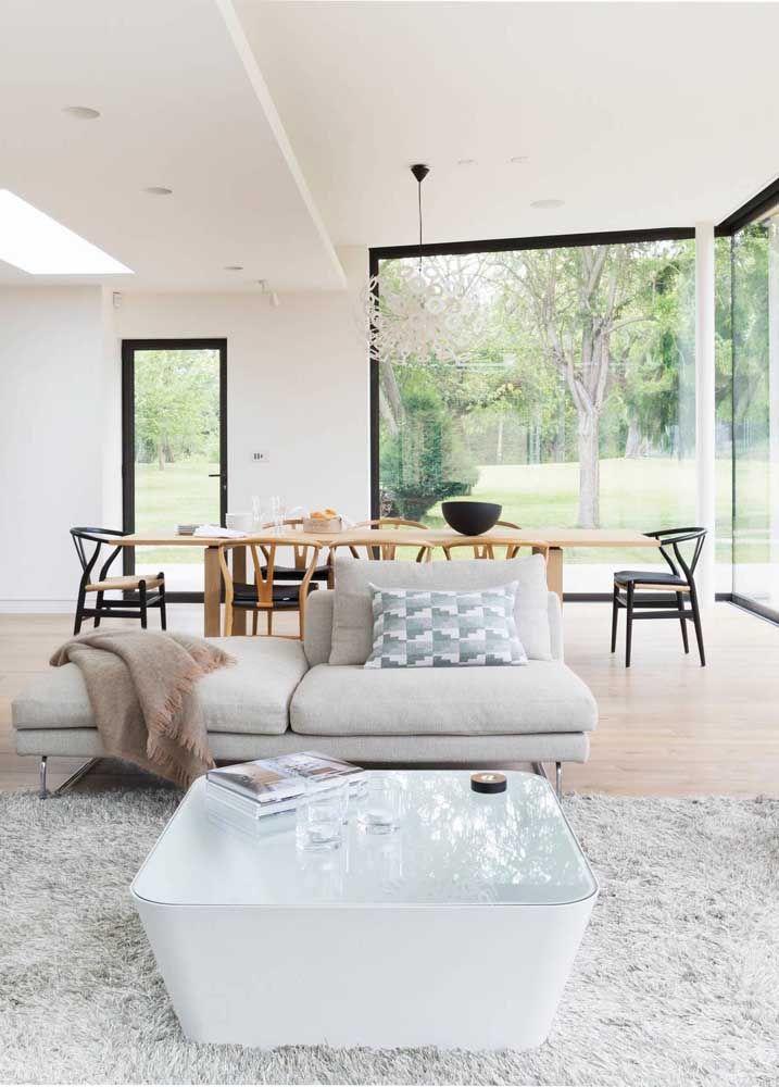 Sala dois ambientes retangular pequena
