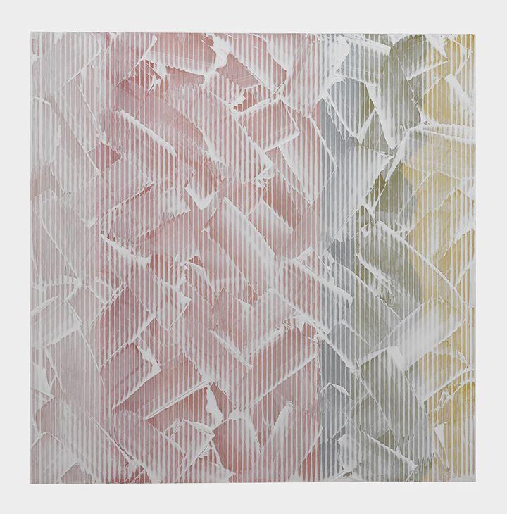 Weft by Rachel Wickremer polycarbonate & acrylic paint, 100 x 100 cm