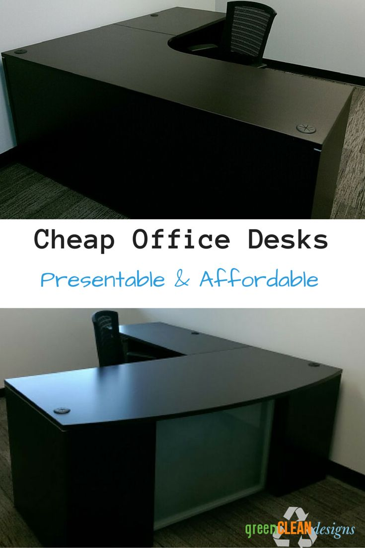 These are cheap office desks at around $500 for a tight office budget.  They are presentable & affordable, allowing you to add desks later as your company grows.  Available in a few finishes.  They are laminate to wear well.  Shown as  L shaped desk, but available in U shaped desk & desk credenza as well.  You can do a hutch & adding matching bookcases, round tables, etc.  Quotes are fast & they ship to the continental US.