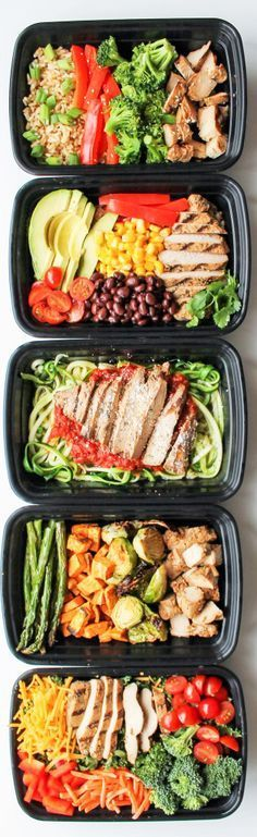 *Grill my own chicken* Chicken Meal Prep Bowls: 5 Ways - this is a quick and easy way to have healthy lunch recipes and healthy dinner recipes for the week!