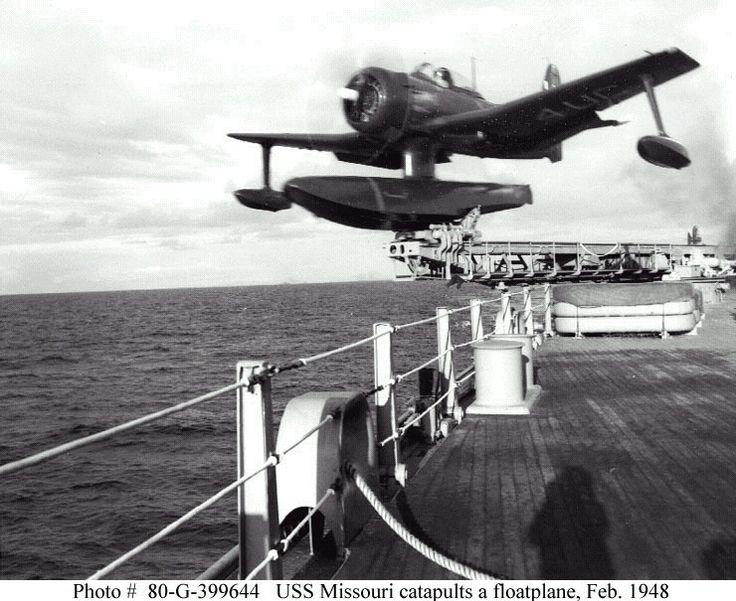 uss missouri catapults a floatplane  feb 1948