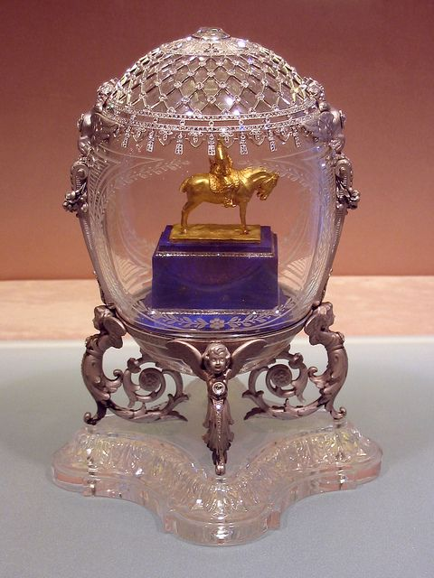 Alexander III Equestrian Monument Egg, 1910. Presented by Nicholas II to Dowager Empress Maria Fyodorovna. Green gold, platinum, portrait diamond, rose-cut diamonds, lapis lazuli, rock crystal. Kept in Kremlin Armoury Museum, Moscow.