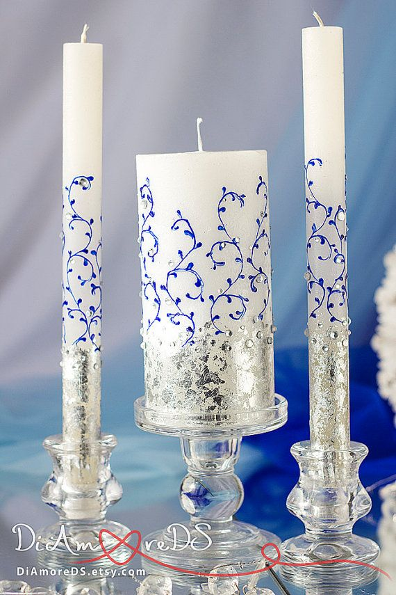 royal blue silver personalized unity candle crystal votive candle pillar candle lace wedding unity set unity candle set 3pcs