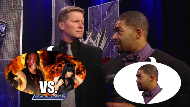 Even the lawyer balked    #wrestling #wwe #smackdown #john #laurinaitis #david #otunga #kane #aksana