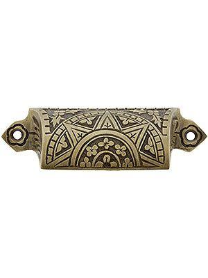 cast brass sunburst bin pull with choice of finish 3