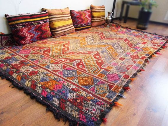 Organic Dyed Turkish Kilim Rug, Decorative Pastel Blue Brown Rose Kilim Rug, Handwoven Wool Kilim Rug -SİZE:230cm x 140cm on Etsy, $620.00