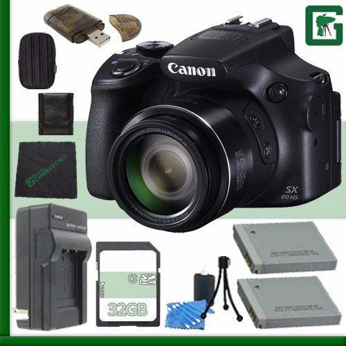 Canon PowerShot SX60 HS Digital Camera with Wi-Fi Black   16GB Green's Camera Bundle *** You can get additional details at the image link. (This is an Amazon Affiliate link and I receive a commission for the sales)