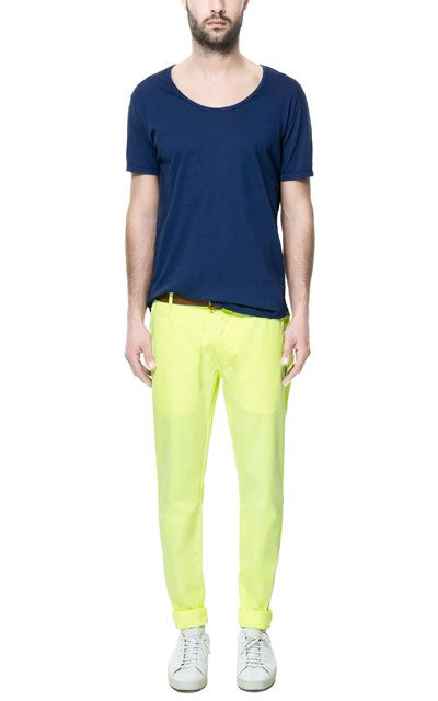 NEON CHINOS WITH BELT - Trousers - Man | ZARA Czech Republic