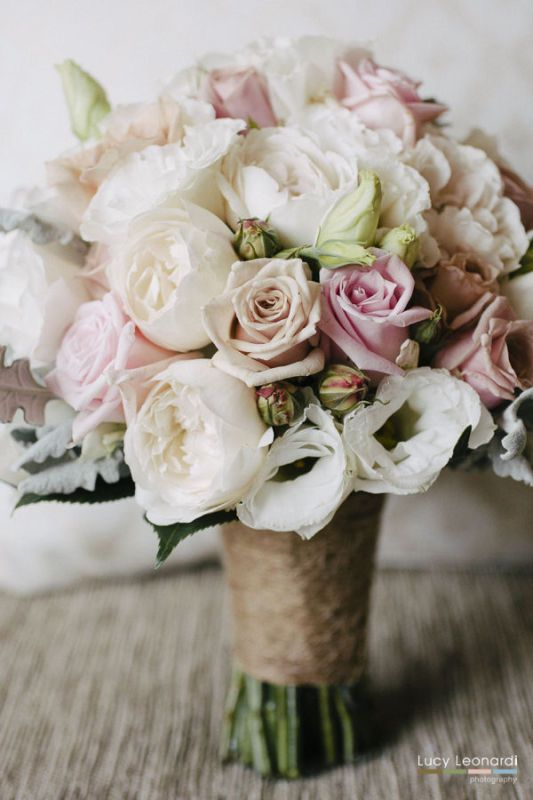 BG375 Bouquet of Soft Antique And Pale Pink  Roses,  White Lisianthus,  Ivory David Austin Roses, Silver Dusty Foliage