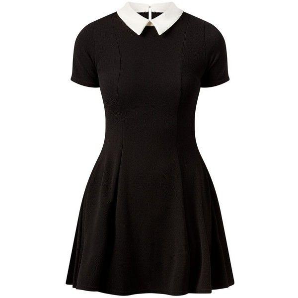Cameo Rose Black Contrast Collar Skater Dress found on Polyvore