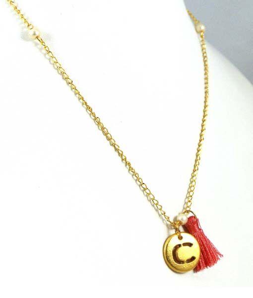 19021e7ee4 Bonito collar de cadena y dije chapeados en oro, de la letra C, para ...