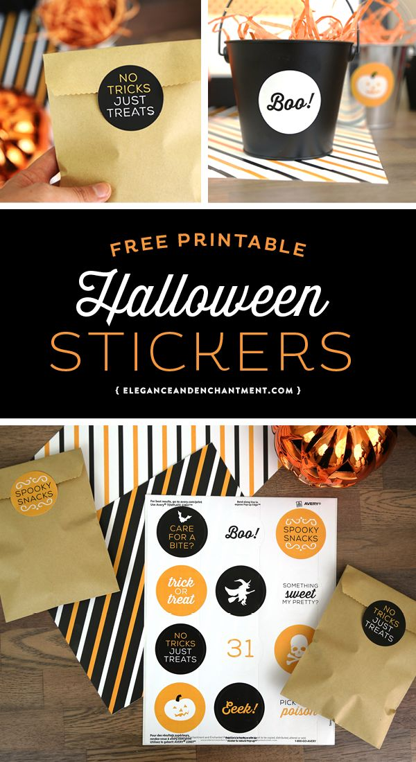 Free Printable Halloween Stickers - 12 different designs for Halloween parties, crafts, DIY projects or in the classroom! Use with Avery stickers or your own adhesive paper. Designs by Elegance and Enchantment.